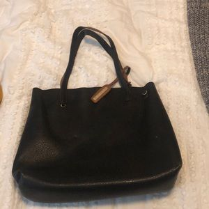 Black and Tan reversible faux leather tote